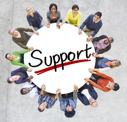Aerial View of People and Support Concepts