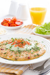 dietary omelette with carrot, green yogurt sauce for breakfast