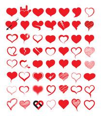 Big set of heart. Vector illustration.