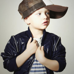 Fashionable Child.little boy.fashion children.Hip-Hop style
