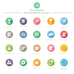 Set of Round Long Shadow SEO and Development icons Set 2