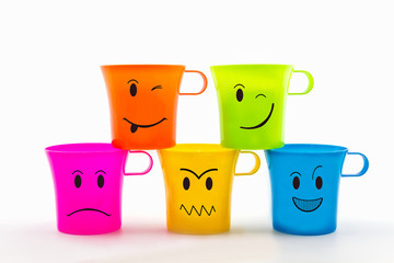 Colorful of facial expression on cup.