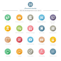Set of Round Long Shadow SEO and Development icons Set 3