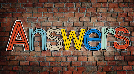 Answer word Concepts on Brick Wall