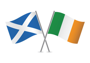 Scottish and Irish flags. Vector illustration.