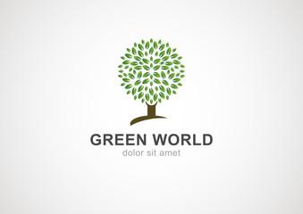 Green circle tree vector logo design template. Garden or ecology