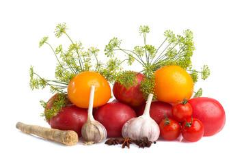 decorative pattern of fresh vegetables on white background