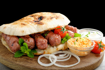 Cevapcici, a small skinless sausage