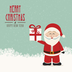 santa claus hold christmas gift snowy background