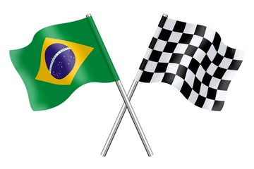 Flags: Brazil and checkerboard