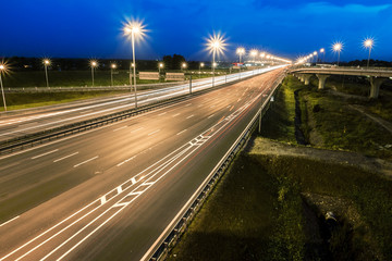 The ring road interchange in St. Petersburg at evening illuminat