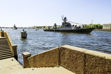 Warships in the waters of the Neva River in St. Petersburg at th