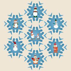 set of Snowman pattern-illustration