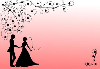 Wedding couple black pink