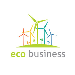Eco wind environmental logo vector template
