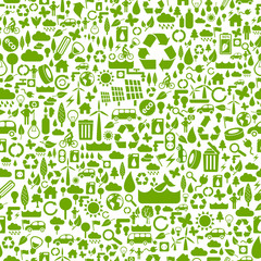 seamless eco background made of ecology icons