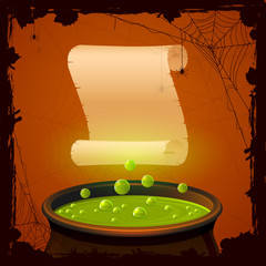 Halloween cauldron and paper