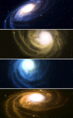 Collection of horizontal banners with spiral galaxy in space.