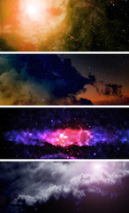 Collection of backgrounds with nebula in deep space.