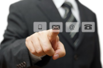 Businessman pressing virtual ( mail,phone,email ) buttons. cutom
