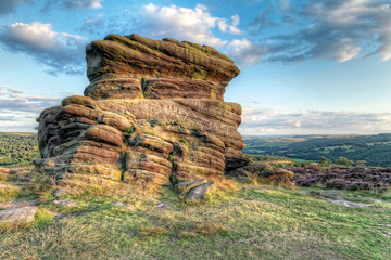 Sunset at Moorland, Mother Cap rock, Peak District