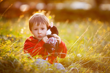 Adorable boy with his teddy friend, sitting on a lawn