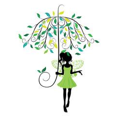Fairy with Floral Umbrella