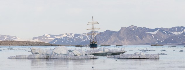 Yacht in the Arctic fjord - panorama
