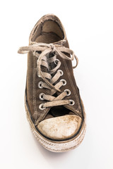 Dirty shoe on white background