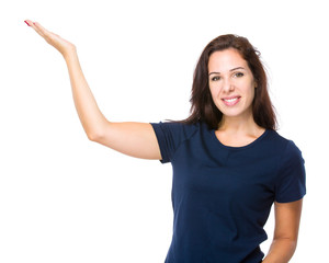 Caucasian woman with hand presentation