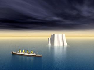 Ozeandampfer und Eisberg
