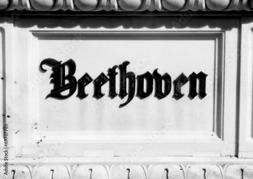 Inscription on the tombstone of BEETHOVEN'S grave in the cemeter - 69707765