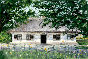 PAINTING - VILLAGE HOUSE IN UKRAINE
