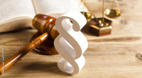 Leinwanddruck Bild Wooden gavel barrister, justice concept, paragraph