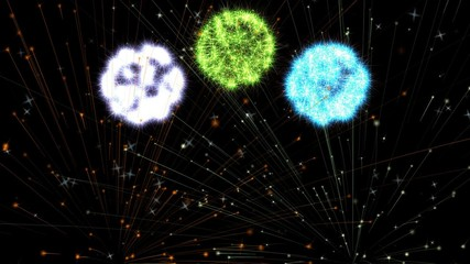 Digital animation of a Fireworks