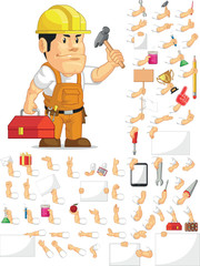 Strong Construction Worker Customizable Mascot Set