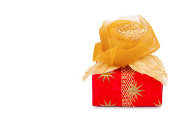 Beautiful gift box in gold paper with silk rose isolated on whit