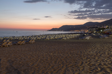 The sunset at the Cleopatr beach  in Alanya. Turkey