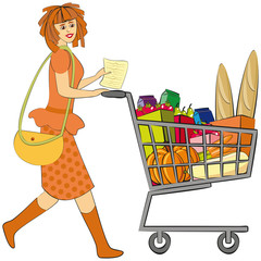 Shopping. Girl and full shopping trolley