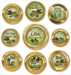 Olive golden labels set