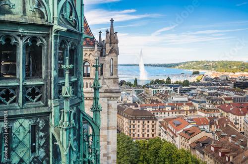 Leinwanddruck Bild View of Geneva from Cathedral of Saint-Pierre, Switzerland