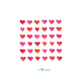 Set of watercolor hearts. Stylish love card with red watercolor