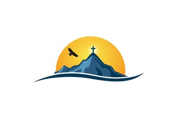 Mountain religious logo