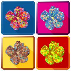 Rose of Sharon flower,Polygonal vector.