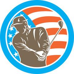 American Golfer Playing Golf Circle Retro