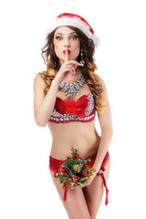 Woman in Santa Claus Stagy Costume showing Silence Sign. Hush!7