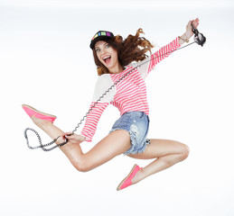 Lifestyle. Dynamic Animated Funny Woman Jumping. Freedom