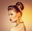 Lovely fashion model with retro hairdo and beautiful red lips
