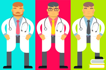 Vector flat bright illustration of set emotion men, they are dre