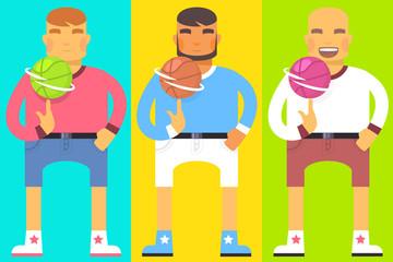 Vector flat bright illustration of set emotion men, they turn ba